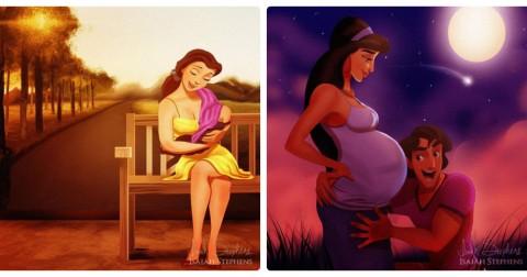 Diện mạo các nàng công chúa Disney sẽ như thế nào nếu họ làm mẹ?