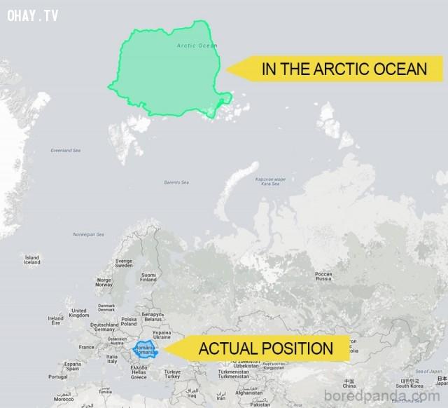 4. Nếu Romania là một hòn đảo nằm ở Bắc Băng Dương,phép chiếu Mercator,bản đồ thế giới,cách nhìn hoàn toàn mới về thế giới,khám phá
