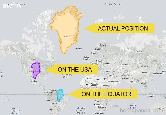6. Greenland không quá lớn khi so với Mỹ và Brazil,phép chiếu Mercator,bản đồ thế giới,cách nhìn hoàn toàn mới về thế giới,khám phá