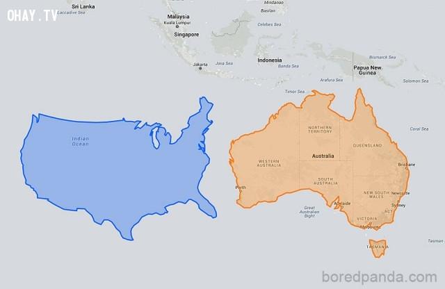 1. Mỹ di chuyển xuống bên cạnh Úc trông chẳng lớn hơn là bao,phép chiếu Mercator,bản đồ thế giới,cách nhìn hoàn toàn mới về thế giới,khám phá