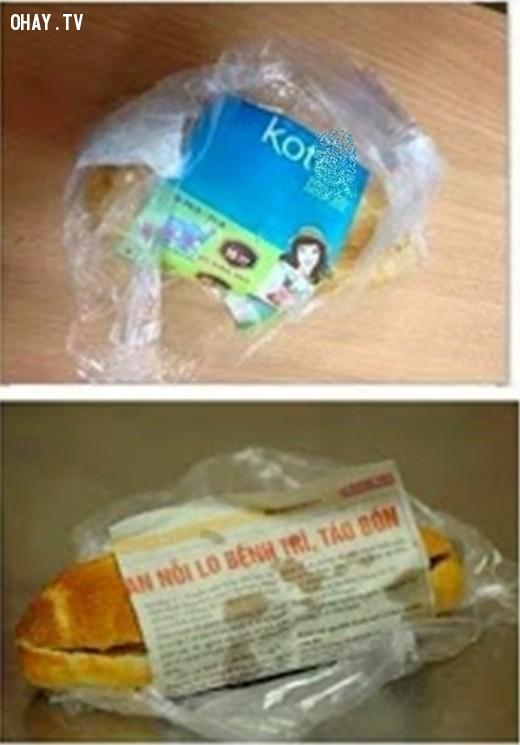 .. Và cả đây nữa,giấy gói bánh mì,hài hước,độc nhất vô nhị,chỉ có ở Việt Nam,bánh mì
