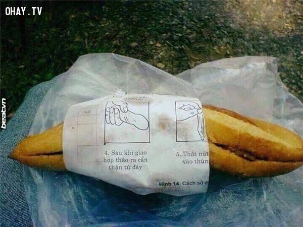 Vừa ăn bánh mì vừa được học cách sử dụng... BCS,giấy gói bánh mì,hài hước,độc nhất vô nhị,chỉ có ở Việt Nam,bánh mì