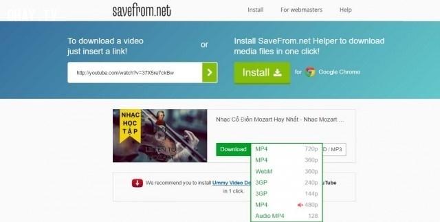3. Tải video YouTube online với Savefrom.net,download video,tải video YouTube về máy,tải bài hát,download mp3