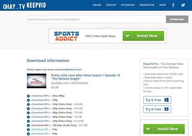 5. Sử dụng công cụ trực tuyến Keepvid.com ,download video,tải video YouTube về máy,tải bài hát,download mp3