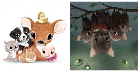 Ảnh minh họa động vật siêu dễ thương của họa sĩ Sydney Hanson
