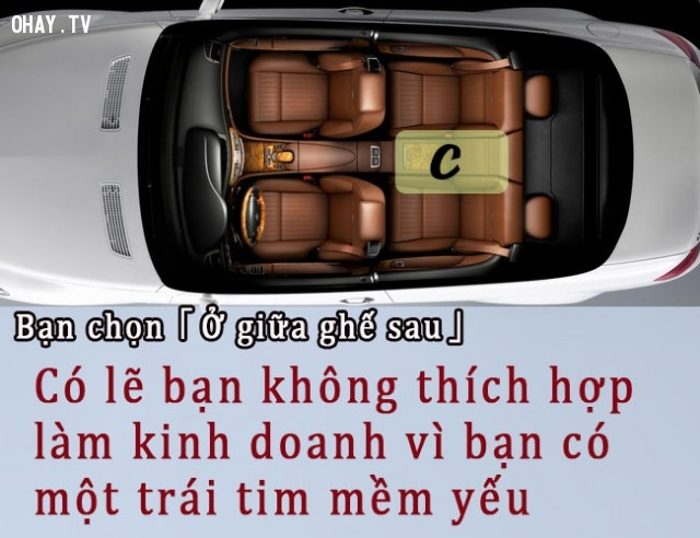 C. Bạn chọn ở giữa ghế sau,trắc nghiệm vui,đi taxi,vị trí ngồi