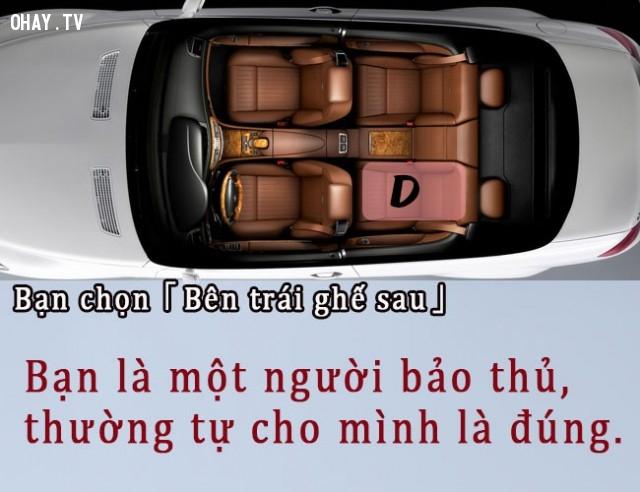 D. Bạn chọn bên trái ghế sau,trắc nghiệm vui,đi taxi,vị trí ngồi
