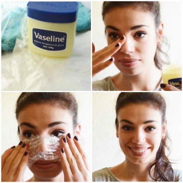 Vaseline + màng bọc nhựa,mụn đầu đen,trị mụn,chăm sóc da mặt