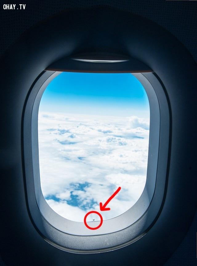 Các lỗ nhỏ trong cửa sổ của máy bay.,