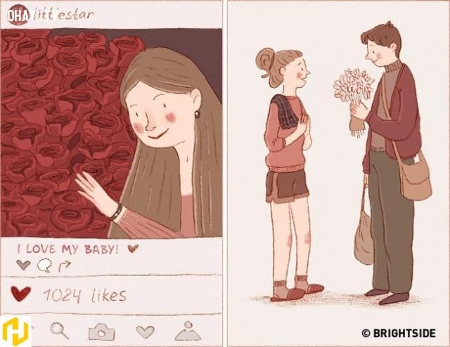 2. 1.000 đóa hoa trên Facebook cũng không bằng một cành hoa người ấy mang đến nhà và trao tận tay bạn.,yêu là gì,say nắng là gì,điểm khác biệt,tình yêu đích thực là gì