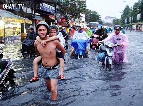 """Cha cõng con gáii lội """" Sông"""" sau giờ tan học.,mùa mưa,ngập nước,cấp thoát nước,thủy triều"""