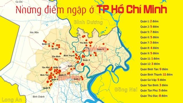 Bản đồ các điểm ngập ở TP Hồ Chí Minh,mùa mưa,ngập nước,cấp thoát nước,thủy triều