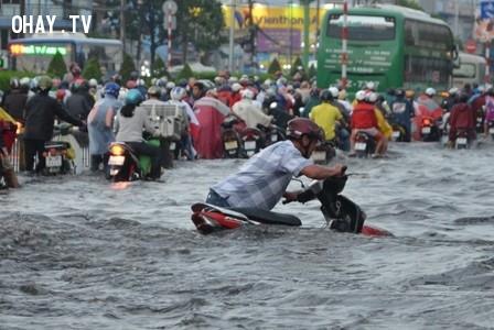 Đường phố biến thành sông sau một cơn mưa lớn ở quận Bình Thạnh.,mùa mưa,ngập nước,cấp thoát nước,thủy triều