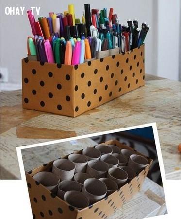 2. Làm ống đựng bút,lõi giấy vệ sinh,sáng tạo