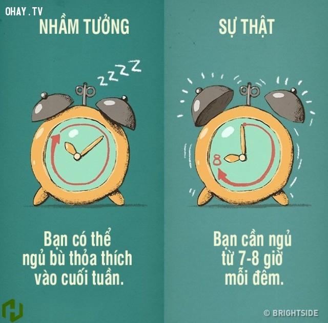 1. Bạn có thể ngủ bù thỏa thích vào cuối tuần. Sự thật là bạn cần ngủ từ 7-8 giờ mỗi đêm.,nhận thức sai lầm,thói quen xấu,thói quen lành mạnh