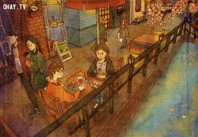 14. Là những buổi tối hẹn hò quán xá hạnh phúc bên người không nói nên câu,tình yêu