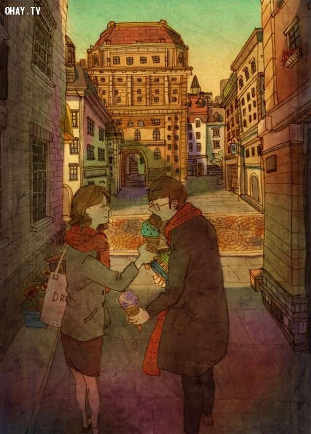 9. Dành cho nhau những cử chỉ ấm áp yêu thương trong những ngày đông giá lạnh,tình yêu