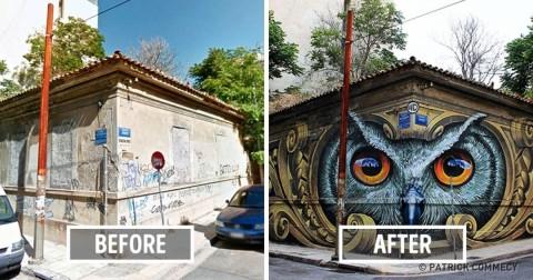 Bức tường thành phố trước và sau khi được sự can thiệp của nghệ thuật