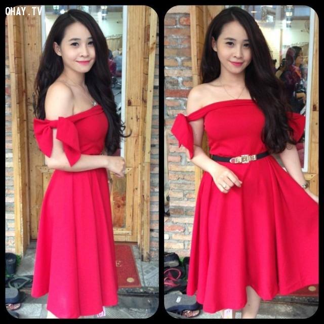 2. Đầm xòe màu đỏ trễ vai.,đầm xòe,thời trang nữ