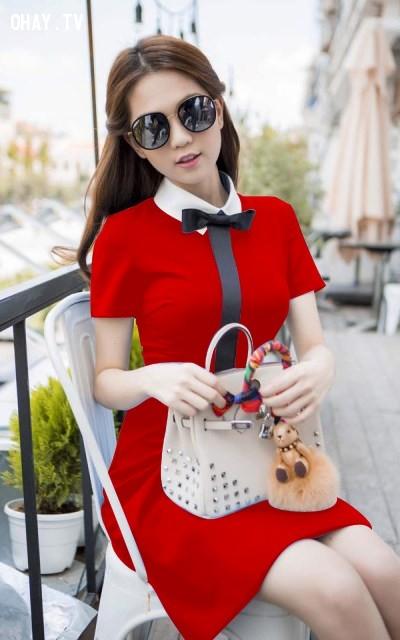 1. Đầm xòe màu đỏ cổ sơ mi.,đầm xòe,thời trang nữ