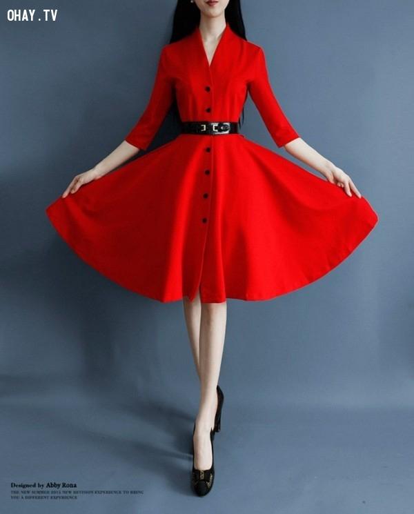 3. Đầm xòe màu đỏ tay lỡ.,đầm xòe,thời trang nữ