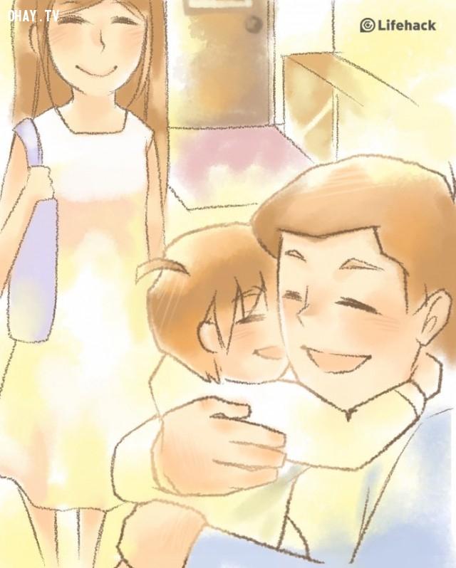 Cho trẻ thấy bạn thực sự nhớ chúng và rất hạnh phúc khi nhìn thấy chúng,nuôi dạy con cái,sự yêu thương