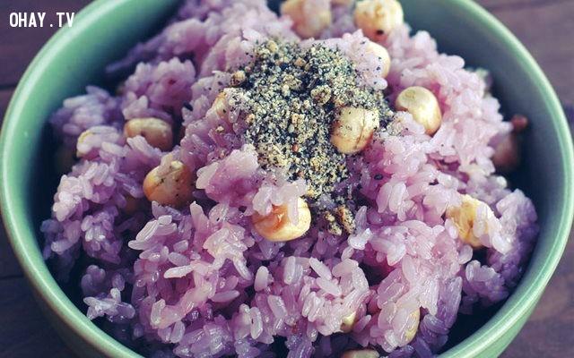 Xôi lá cẩm hạt sen,cách nấu xôi,món ăn sáng,mẹo nấu ăn,mẹo nhà bếp