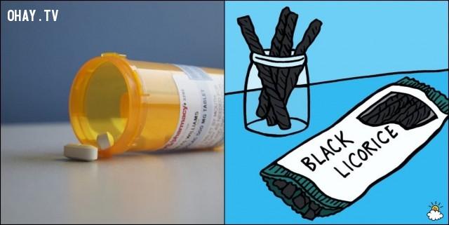 3. Nếu bạn dùng thuốc điều trị các bệnh về tim tránh cam thảo đen,thực phẩm kỵ nhau,thuốc tây