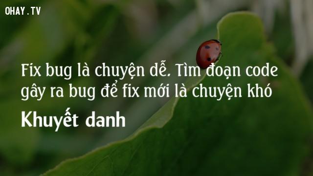 Fix bug là chuyện dễ. Tìm ra đoạn code gây bug để fix mới là chuyện khó.,lập trình viên,nghề lập trình