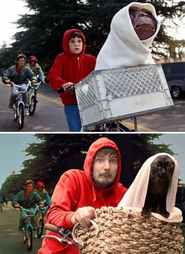 02. Nhại lại một cảnh phim ET The Extra-Terrestrial:,cảnh phim,nổi tiếng,mèo,vui nhộn
