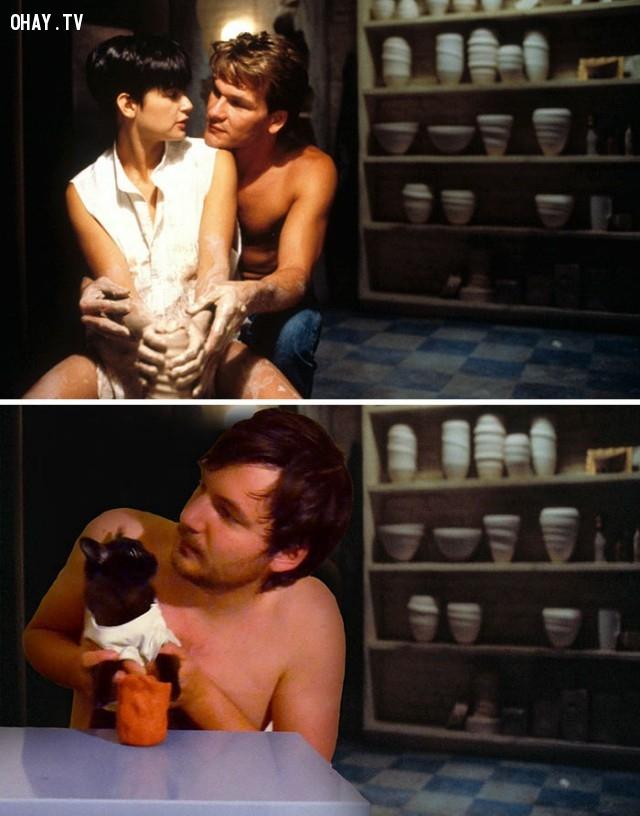 03.Anh chàng tình tứ bên nàng mèo trong một cảnh phim Ghost:,cảnh phim,nổi tiếng,mèo,vui nhộn
