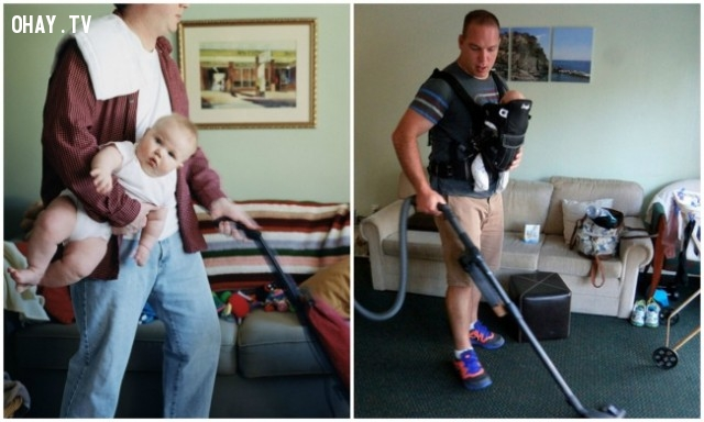 Chăm con nhưng cũng phải làm việc nhà cho vợ
