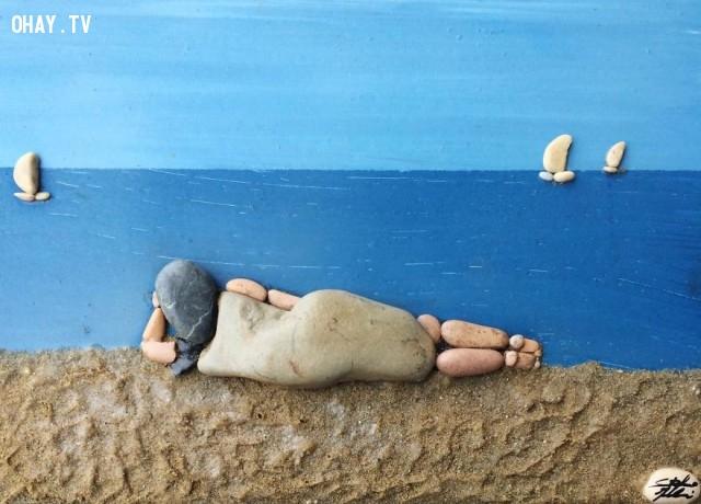 ,tranh đá biển