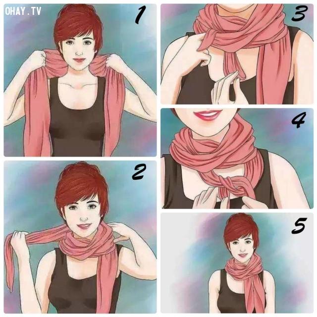 2. KIỂU TAI THỎ,khăn choàng,kiểu thắt khăn