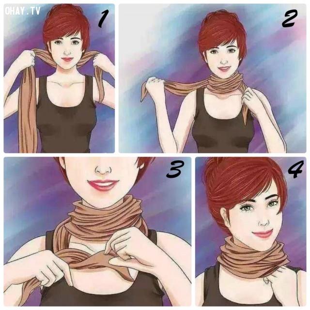 3. KIỂU CỔ CAO,khăn choàng,kiểu thắt khăn