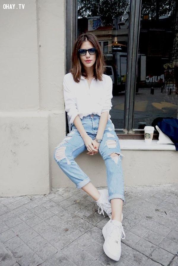 Kết hợp với áo sơ mi,quần baggy jean,thời trang nữ