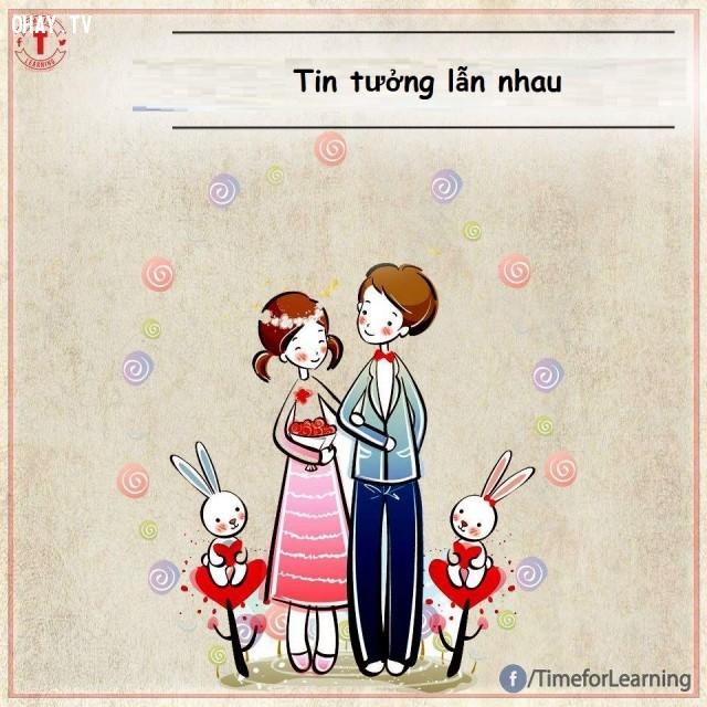 Tin tưởng vào đối phương,tình yêu,tình bạn,hạnh phúc,hôn nhân,chung thủy