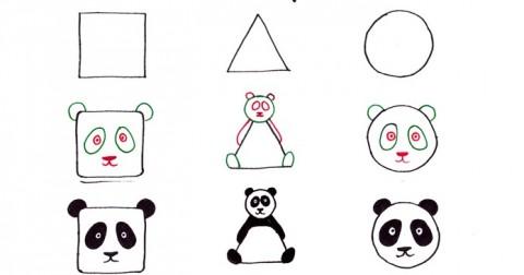 Vẽ những con vật đáng yêu từ hình vuông, tam giác và hình tròn