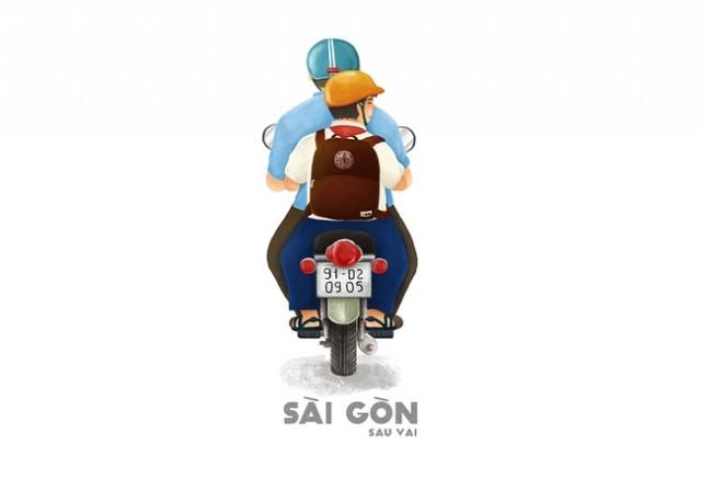 Sài Gòn là bóng lưng to lớn của ba,sài gòn,tranh vẽ