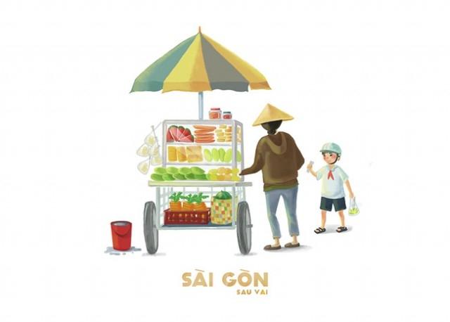 Sài Gòn là gánh hàng rong quà ngọt quà thơm,sài gòn,tranh vẽ