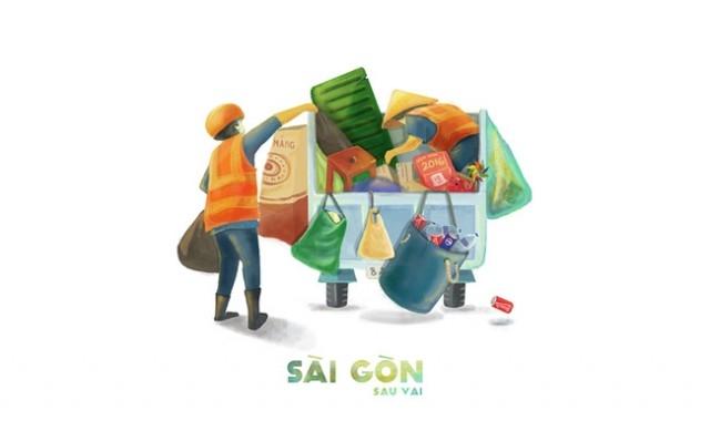 Sài Gòn là những bóng lưng hằng ngày cần mẫn với công việc,sài gòn,tranh vẽ