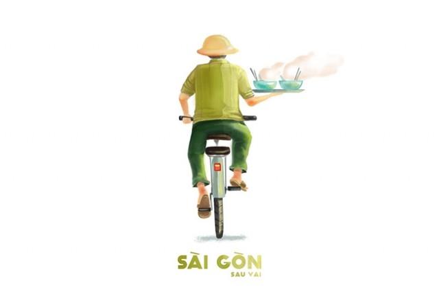 """Sài Gòn là chú """"siêu nhân"""" một tay lái xe một tay bưng tô hủ tiếu,sài gòn,tranh vẽ"""