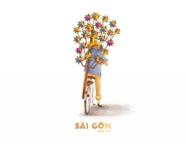 Sài Gòn là chiếc xe chở đầy chong chóng cầu vồng,sài gòn,tranh vẽ