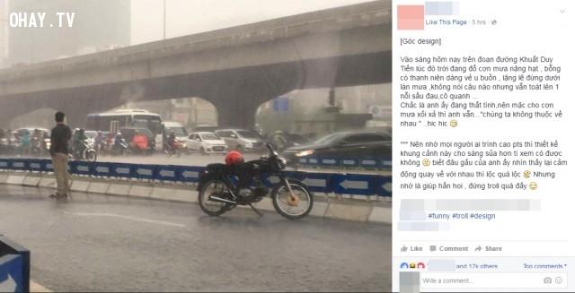 Khi chàng trai thất tình đứng trong cơn mưa và nhờ dân mạng chỉnh cho bức ảnh sáng hơn,nhờ photoshop
