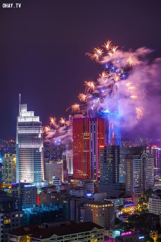 Pháo hoa chào đón năm mới ở TP Hồ Chí Minh,ảnh đẹp,việt nam,nhiếp ảnh