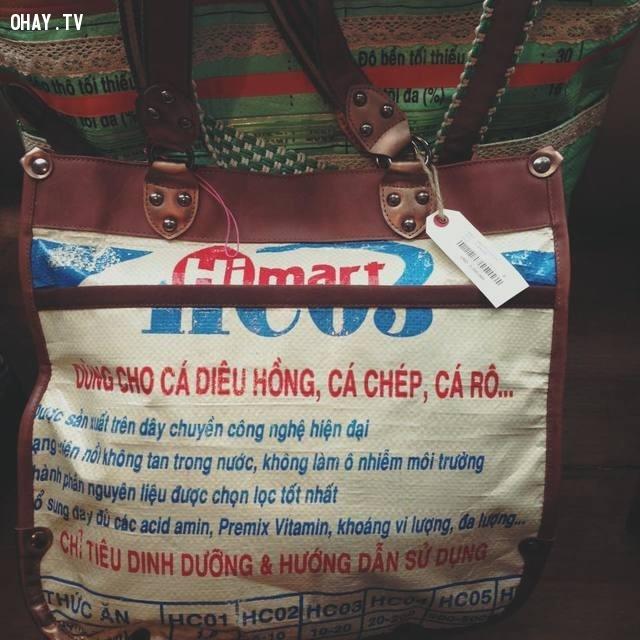 Cái túi cám con cò được thiết kế thêm với ít da + dây kéo là bán được giá tận 3.300.000 vnd,túi cám con cò,thời trang,túi xách,nhật bản