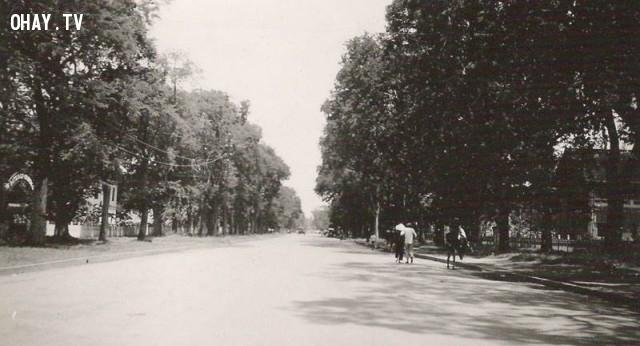 Nam kỳ, Mỹ Tho, đại lộ Bourdais năm 1950, hiện nay là đường Hùng Vương,Việt nam xưa,Việt Nam thế kỷ 18,Ảnh cổ Việt Nam