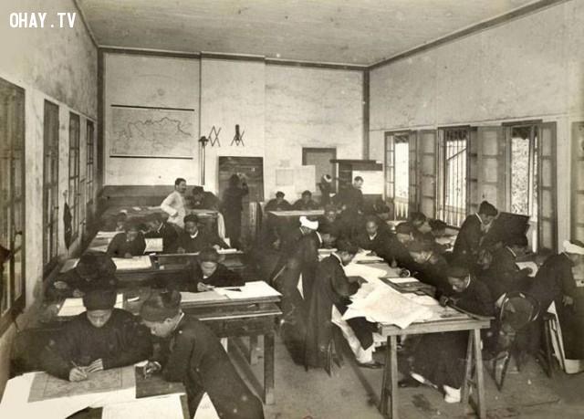 Bắc kỳ, Sở Địa chính Đông Dương, các nhân viên người Việt Nam đang vẽ bản đồ, đầu thế kỷ 20,Việt nam xưa,Việt Nam thế kỷ 18,Ảnh cổ Việt Nam