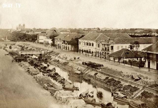 Kinh Lớn (kênh Charner - đường Nguyễn Huệ hiện nay), năm 1880,Việt nam xưa,Việt Nam thế kỷ 18,Ảnh cổ Việt Nam