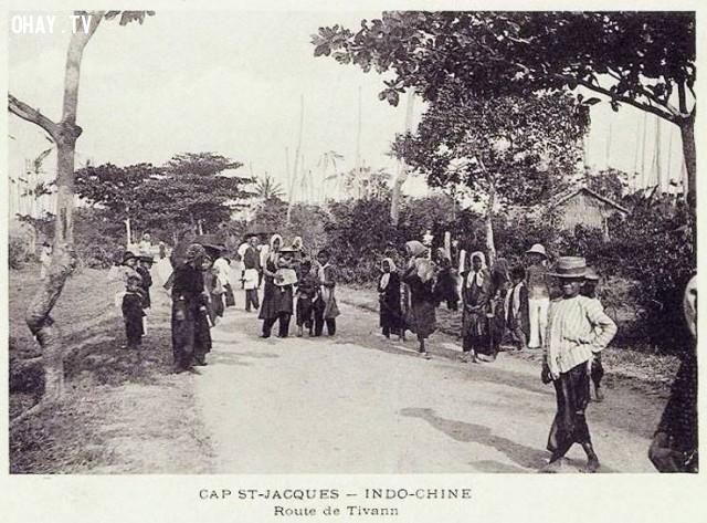 Vũng Tàu (Cap Saint Jacques) - ảnh chụp 1 con đường đầu thế kỷ 20,Việt nam xưa,Việt Nam thế kỷ 18,Ảnh cổ Việt Nam